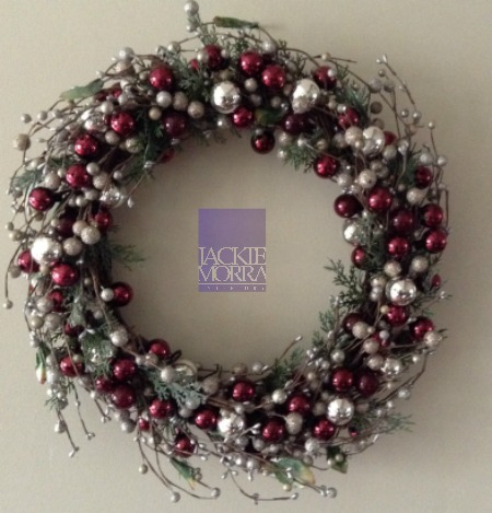 Berries and Silver Balls Wreath After Jackie Morra Interiors