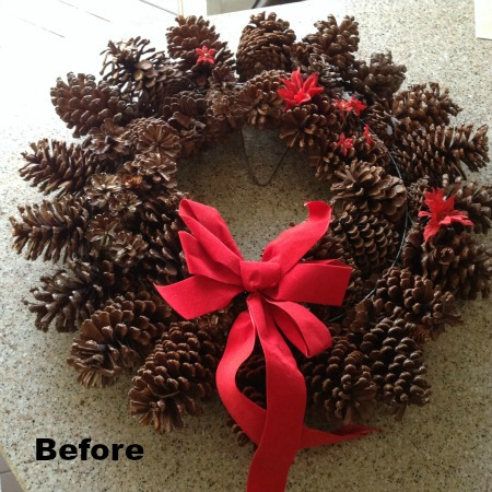 Pine Cone Wreath Before