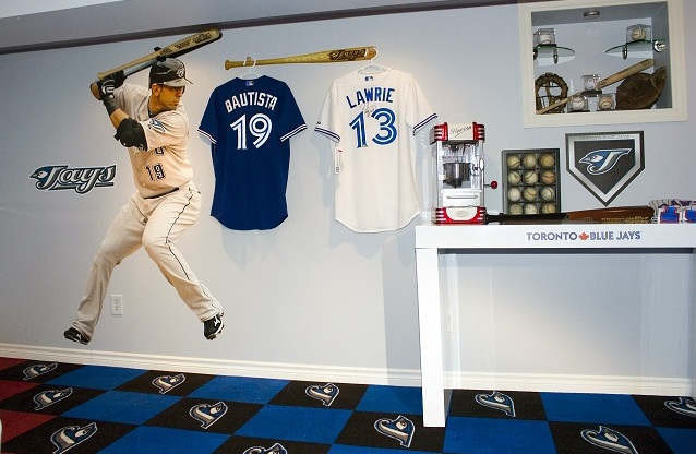 decor wall in sports room with blue jays